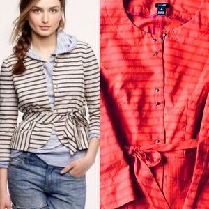 J Crew belted jacket, cotton/linen sz 8 Tall